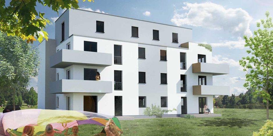 Mehrfamilienhaus Visualisierung Garten